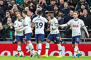 Goal! Tottenham Hotspur midfielder Erik Lamela (11) scores a goal and celebrates 2-0 during The FA Cup third round replay match between Tottenham Hotspur and Middlesbrough at Tottenham Hotspur Stadium, London, United Kingdom on 14 January 2020.