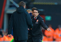 BOURNEMOUTH, ENGLAND - Sunday, November 25, 2018: Arsenal's manager Unai Emery reacts during the FA Premier League match between AFC Bournemouth and Arsenal FC at the Vitality Stadium. (Pic by David Rawcliffe/Propaganda)