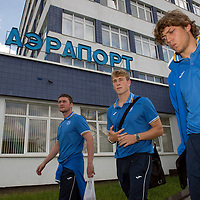 St Johnstone v FC Minsk...31.07.13<br /> Tom Scobbie, David Wotherspoon and Murray Davidson arrive at Grodno Airport in Belarus where they will play FC Minsk tomorrow night.<br /> Picture by Graeme Hart.<br /> Copyright Perthshire Picture Agency<br /> Tel: 01738 623350  Mobile: 07990 594431