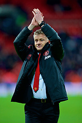 LONDON, ENGLAND - Sunday, January 13, 2019: Manchester United's manager Ole Gunnar Solskjær celebrates after his side's 1-0 victory over Tottenham Hotspur after the FA Premier League match between Tottenham Hotspur FC and Manchester United FC at Wembley Stadium. (Pic by David Rawcliffe/Propaganda)