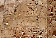Inscriptions on the columns in the Great Hypostyle Hall, Temple of Karnak, Luxor, Egypt.