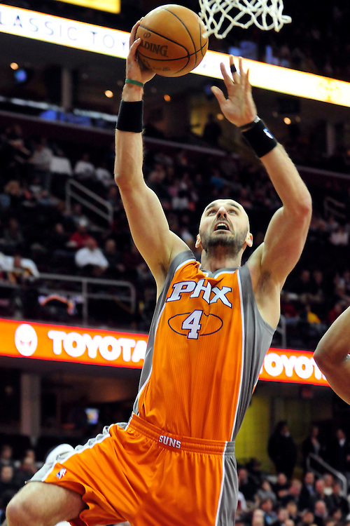 Jan. 19, 2011; Cleveland, OH, USA; Phoenix Suns center Marcin Gortat (4) shoots during the first quarter against the Cleveland Cavaliers at Quicken Loans Arena. Mandatory Credit: Jason Miller-US PRESSWIRE