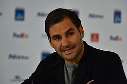 November 15, 2018 - London, England, United Kingdom - Roger Feder of Switzerland attends the press conference, on day 5 of the Nitto ATP World Tour FInals at the O2 Arena on November 15, 2018 in London, England. (Credit Image: © Alberto Pezzali/NurPhoto via ZUMA Press)