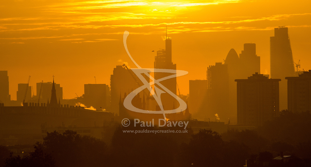 Primrose Hill, London, October 28th 2016.London's skyscrapers in silhouette against the sunrise as dawn breaks over The City.