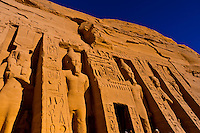 Hieroglyphics, The Temple of Hathor and Nefertari, Abu Simbel (archaeological site) on Lake Nasser, Egypt