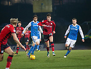 30th December 2017, McDiarmid Park, Perth, Scotland; Scottish Premiership football, St Johnstone versus Dundee; Dundee's Jack Hendry bursts forward between St Johnstone's Murray Davidson and St Johnstone's David Wotherspoon