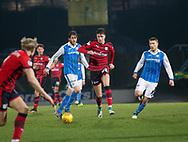 30th December 2017, McDiarmid Park, Perth, Scotland; Scottish Premiership football, St Johnstone versus Dundee; Dundee's Jack Hendry bursts forward between St Johnstone's Murray Davidson and St Johnstone's David Wotherspoon