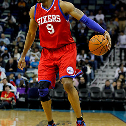January 4, 2012; New Orleans, LA, USA; Philadelphia 76ers small forward Andre Iguodala (9) against the New Orleans Hornets during the second half of a game at the New Orleans Arena. The 76ers defeated the Hornets 101-93.  Mandatory Credit: Derick E. Hingle-US PRESSWIRE