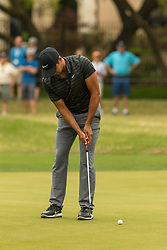 March 23, 2018 - Austin, TX, U.S. - AUSTIN, TX - MARCH 23:  Julian Suri attempts a birdie putt during the WGC-Dell Technologies Match Play Tournament on March 22, 2018, at the Austin Country Club in Austin, TX.  (Photo by David Buono/Icon Sportswire) (Credit Image: © David Buono/Icon SMI via ZUMA Press)