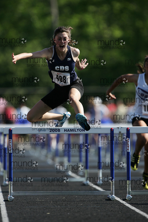 Hamilton, Ontario ---06/06/08--- Kristina Brown of Country Day School in King City competes in the sprint hurdles at the 2008 OFSAA Track and Field meet in Hamilton, Ontario..