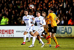Kalvin Phillips of Leeds United challenges James Dunne of Cambridge United - Mandatory by-line: Robbie Stephenson/JMP - 09/01/2017 - FOOTBALL - Cambs Glass Stadium - Cambridge, England - Cambridge United v Leeds United - FA Cup third round