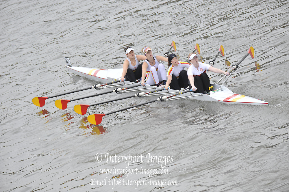 London, Great Britain,   Start No. 269 TIDEWAY SCULLERS VI. Women's IM1 4x- approach the start at Mortlake, Photo from Chiswick Bridge.  Fullers,  Fours Head of the River Race, Championship Course, Mortlake to Putney, River Thames. Saturday   05/11/2011   [Mandatory Credit. Peter Spurrier/Intersport Images]