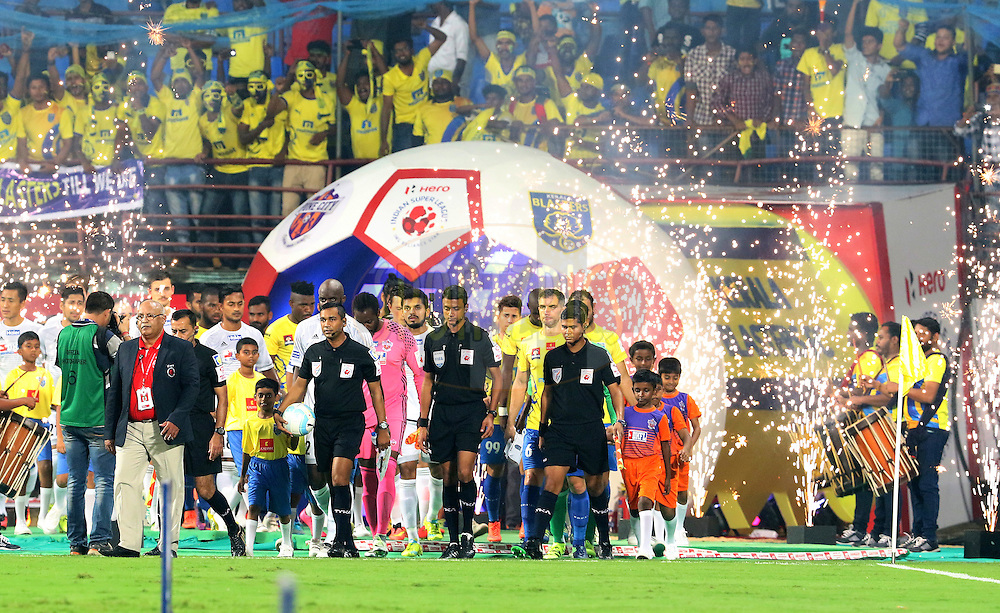 Match officials along with Kerala Blasters FC and FC Pune City players arrive on the ground for the start of the match 48 of the Indian Super League (ISL) season 3 between Kerala Blasters FC and FC Pune City held at the Jawaharlal Nehru Stadium in Kochi, India on the 25th November 2016.<br /> <br /> Photo by Vipin Pawar / ISL / SPORTZPICS