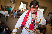 Aug. 2 - PHOENIX, AZ: DONALD TRAPANI sings the songs of Elvis Presley during a show at The Stratford, an Alzheimer's care facility in Phoenix, AZ. Trapani, 68, was diagnosed with lung cancer in August 2009 and entered the care of Hospice of the Valley, the largest hospice organization in Phoenix, shortly after that. His doctor said he would be dead by the end of February 2010. Trapani is in still in the care of Hospice of the Valley, but his condition has improved. He now entertains other hospice patients singing the songs of Elvis Presley. He tries to hold one concert each week, his health permitting, at different hospice units in the Phoenix area.     Photo by Jack Kurtz