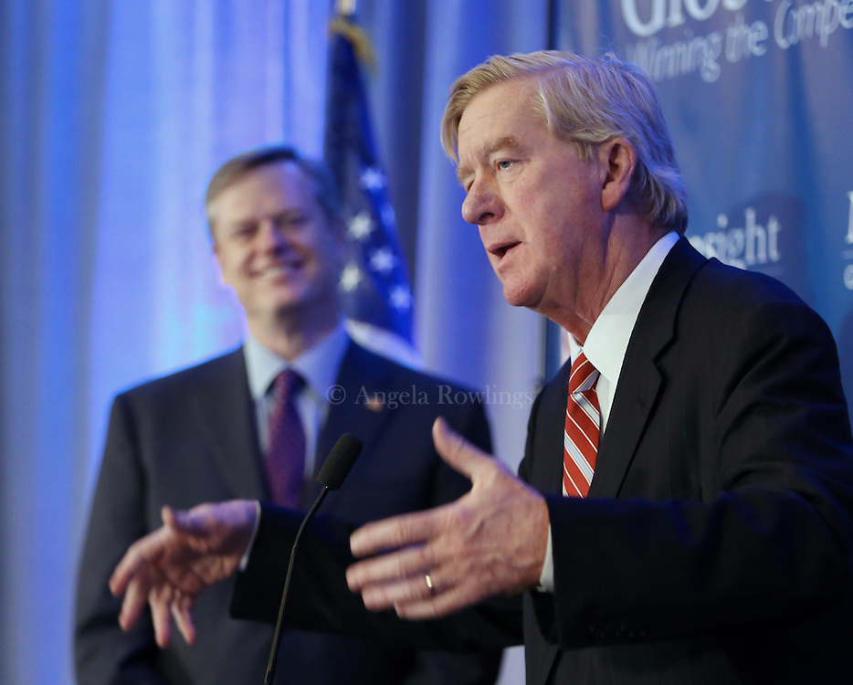 (Boston, MA - 3/11/15) Gov. Charlie Baker, left, listens as former Gov. William Weld speaks during the Global Massachusetts 2024 luncheon at the Hyatt Regency Hotel, Wednesday, March 11, 2015. Staff photo by Angela Rowlings.