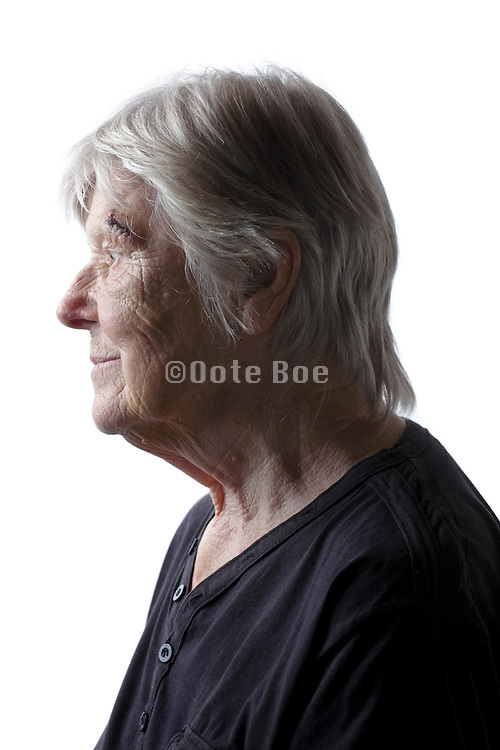 side view portrait of senior woman