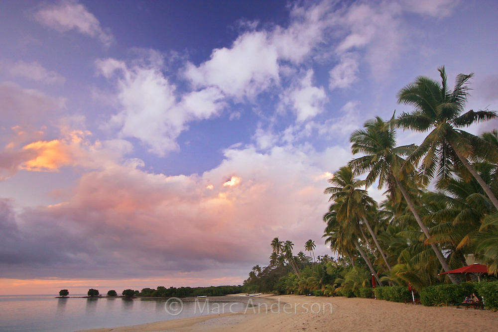 A beautiful sunset on a tropical island in Vanua Levu, Fiji.