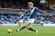 Birmingham City striker Nicolai Brock-Madsen shoots during the Sky Bet Championship match between Birmingham City and Charlton Athletic at St Andrews, Birmingham, England on 21 November 2015. Photo by Alan Franklin.