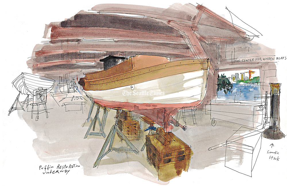 Seattle Sketcher Illustration Of Wooden Boat Restoration Seattle
