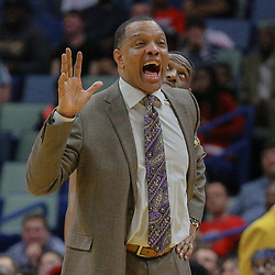Mar 11, 2018; New Orleans, LA, USA; New Orleans Pelicans head coach Alvin Gentry argues a foul during the second half against the Utah Jazz at the Smoothie King Center. Mandatory Credit: Derick E. Hingle-USA TODAY Sports