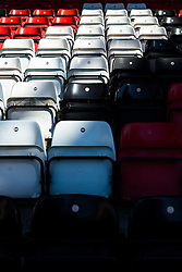 A general view of seats in the Atyeo stand inside Ashton Gate Stadium, home of Bristol City Football Club and Bristol Rugby, as the new West Stand nears completion ahead of the new season - Mandatory byline: Rogan Thomson/JMP - 19/07/2016 - SPORT - Ashton Gate Stadium - Bristol, England.