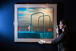 © licensed to London News Pictures. London, UK 07/05/2013. Luxury Cruise by Jeffrey Smart being revealed by Bonhams in London as an Australian art collection owned by Neighbours producer Reg Grundy goes to auction. The painting is estimated to be sold for £230,000-300,000 and the collection is estimated to fetch up to £13million in total. Auction takes place on June 26 in Sydney. Photo credit: Tolga Akmen/LNP