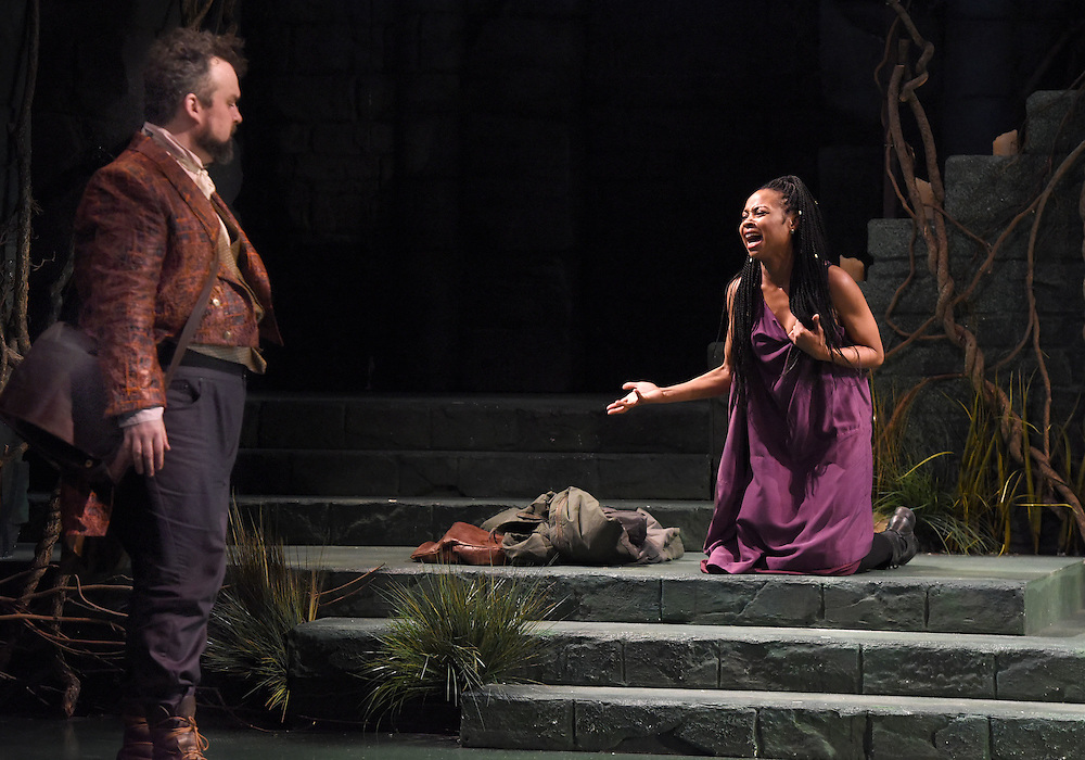 Mara Lavitt -- Special to the Hartford Courant<br /> March 24, 2016<br /> The run-through of William Shakespeare's &quot;Cymbeline,&quot; at the University Theatre at Yale. Christopher Michael McFarland as Pisanio and Sheria Irving as Imogen.