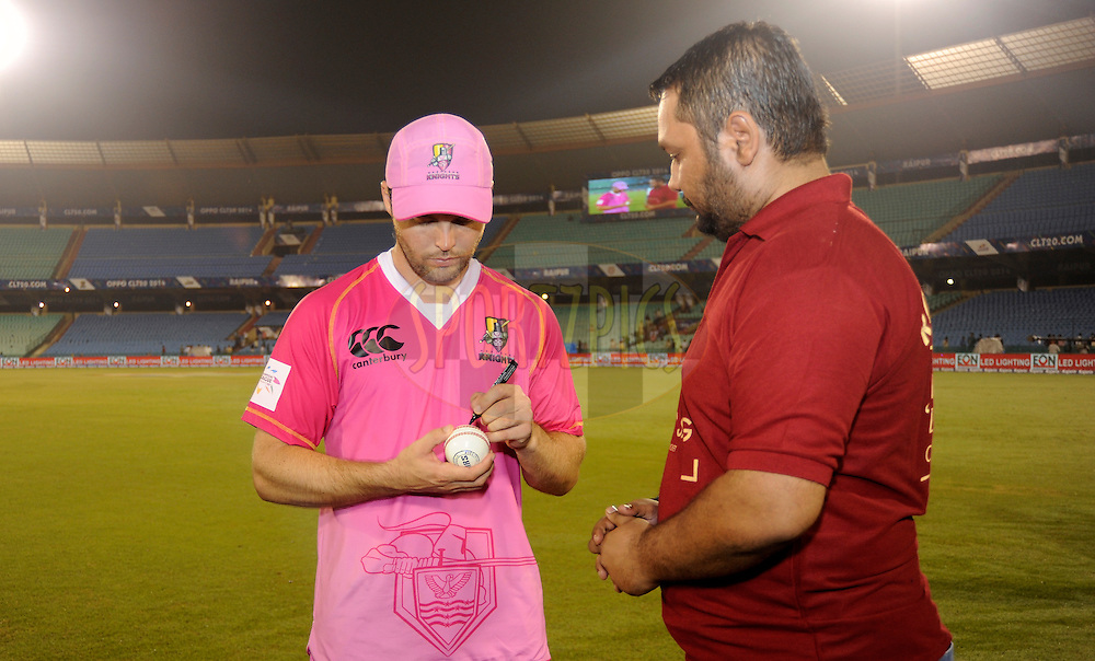 during the qualifier 5 match of the Oppo Champions League Twenty20 between the Southern Express and the Lahore Lions held at the Chhattisgarh International Cricket Stadium, Raipur, India on the 16th September 2014<br /> <br /> Photo by:  Pal Pillai / Sportzpics/ CLT20<br /> <br /> <br /> Image use is subject to the terms and conditions as laid out by the BCCI/ CLT20.  The terms and conditions can be downloaded here:<br /> <br /> http://sportzpics.photoshelter.com/gallery/CLT20-Image-Terms-and-Conditions-2014/G0000IfNJn535VPU/C0000QhhKadWcjYs