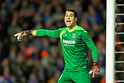 Goalkeeper Andres Fernandez (#13) of Villarreal CF shouts at his defenders during the Europa League group stage match between Rangers FC and Villareal CF at Ibrox, Glasgow, Scotland on 29 November 2018.