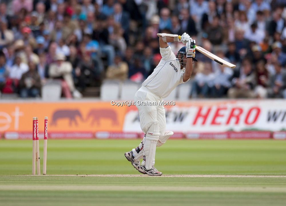 Gautam Gambhir is bowled by Stuart Broad during the first npower Test Match between England and India at Lord's Cricket Ground, London.  Photo: Graham Morris (Tel: +44(0)20 8969 4192 Email: sales@cricketpix.com) 23/07/11