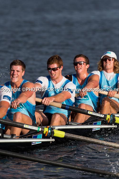 Men's Eight at the Rowing NZ Media Day, Lake Karapiro, Cambridge, New Zealand, Wednesday 6 May 2015. Photo: Stephen Barker/Photosport.co.nz