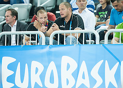 Matej Erjavec and Raso Nesterovic during basketball match between Slovenia vs Netherlands at Day 4 in Group C of FIBA Europe Eurobasket 2015, on September 8, 2015, in Arena Zagreb, Croatia. Photo by Vid Ponikvar / Sportida
