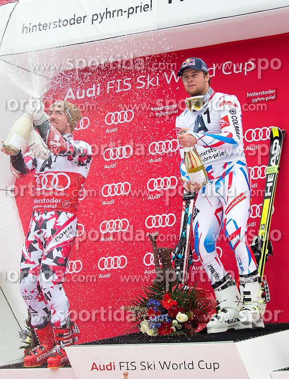 28.02.2016, Hannes Trinkl Rennstrecke, Hinterstoder, AUT, FIS Weltcup Ski Alpin, Hinterstoder, Riesenslalom, Herren, Podium, im Bild v.l. Marcel Hirscher (AUT, 2. Platz), Alexis Pinturault (FRA, 1. Platz) spritzen mit Sekt // f.l.t.r. 2nd placed Marcel Hirscher of Austria and winner Alexis Pinturault of France Celebrate with austrian Champagner celebrates on Podium of men's Giant Slalom of Hinterstoder FIS Ski Alpine World Cup at the Hannes Trinkl Rennstrecke in Hinterstoder, Austria on 2016/02/28. EXPA Pictures © 2016, PhotoCredit: EXPA/ Johann Groder