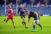 Duhan van der Merwe (#11) of Edinburgh Rugby scores his third try of the evening during the Guinness Pro 14 2019_20 match between Edinburgh Rugby and Scarlets at BT Murrayfield Stadium, Edinburgh, Scotland on 26 October 2019.