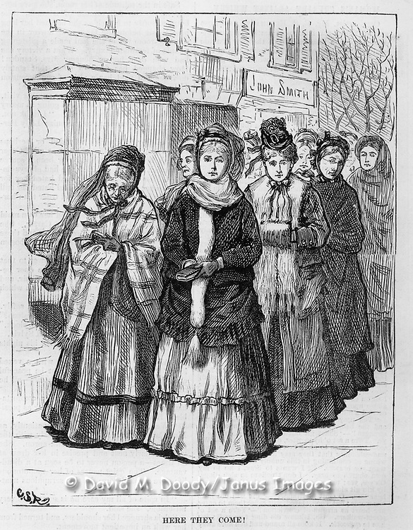 "Vintage Illustration:  ""Here They Come"" Praying and Protesting drunkenness at saloons (led by Mrs. Col. Lowe).   Woman's crusade against intemperance later known as The  Woman's Christian Temperance Union (WCTU). The scene is illustrated by Mrs. C. S. Reinhart of the events in Xenia, Ohio. .  Harper's Weekly 1874"