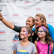 August 21, 2016, New Haven, Connecticut: <br /> Fans pose for a selfie photograph with Dominica Cibulkova and Anastasia Pavlyuchenkova during Day 3 of the 2016 Connecticut Open at the Yale University Tennis Center on Sunday, August  21, 2016 in New Haven, Connecticut. <br /> (Photo by Billie Weiss/Connecticut Open)