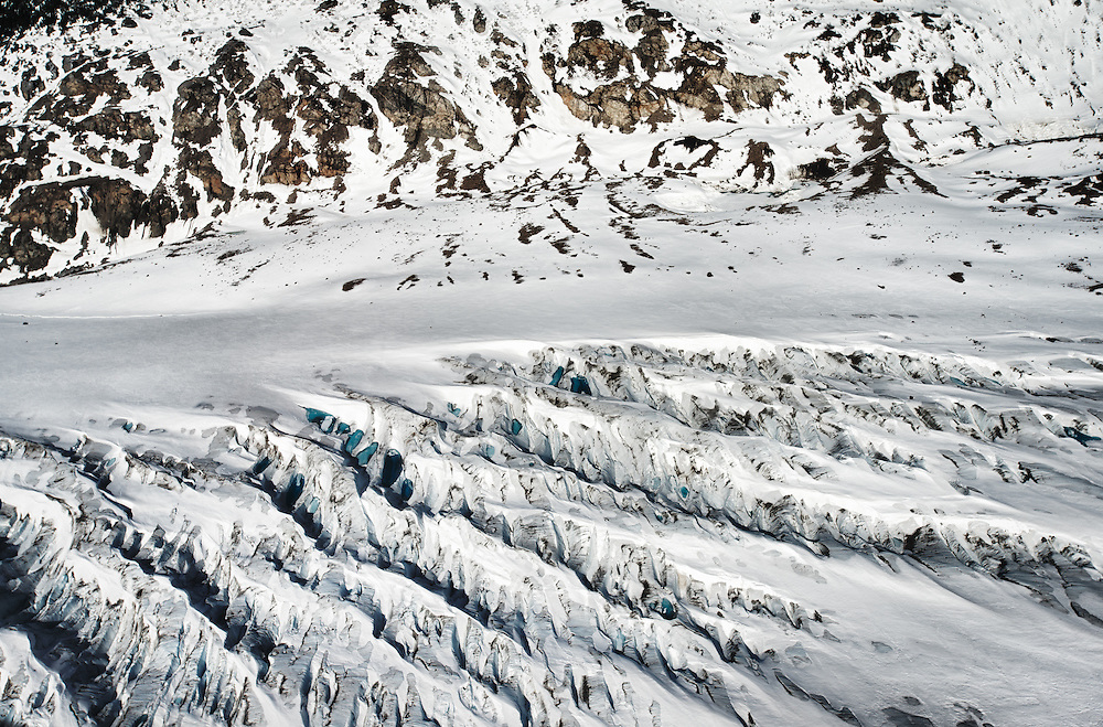 A segment of the Meade Glacier weaving its slow progression through the Chilkoot Range outside of Skagway, Alaska