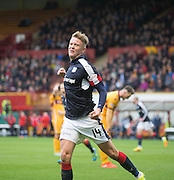Dundee&rsquo;s Mark O&rsquo;Hara celebrates after scoring the third - Motherwell v Dundee in the Ladbrokes Scottish Premiership at Fir Park, Motherwell.Photo: David Young<br /> <br />  - &copy; David Young - www.davidyoungphoto.co.uk - email: davidyoungphoto@gmail.com