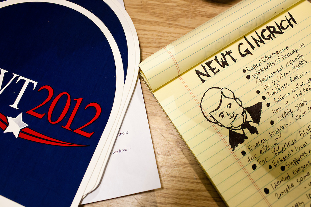 A voter's notepad is filled with notes after hearing Republican presidential candidate Newt Gingrich speak at a rally at his campaign office on Monday, January 2, 2012 in Davenport, IA.