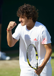 LONDON, ENGLAND - Saturday, June 30, 2012: Christian Garin (CHI) during the Boys' Singles 1st Round match on day five of the Wimbledon Lawn Tennis Championships at the All England Lawn Tennis and Croquet Club. (Pic by David Rawcliffe/Propaganda)
