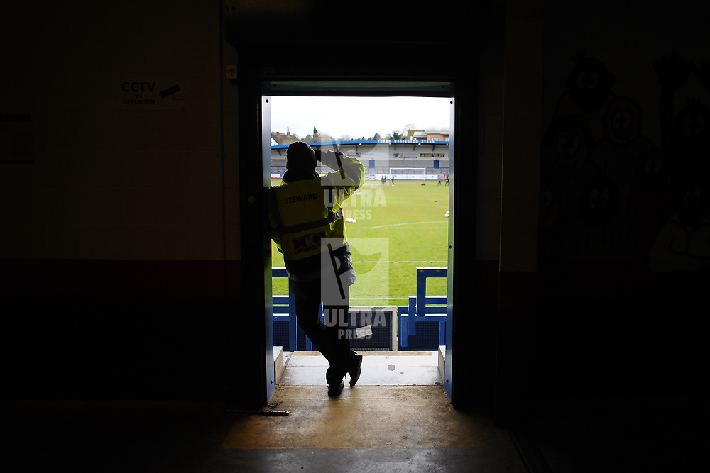 TELFORD COPYRIGHT MIKE SHERIDAN A steward surveys the scene prior to the Vanarama Conference North fixture between AFC Telford United and Kettering at The New Bucks Head on Saturday, March 14, 2020.<br /> <br /> Picture credit: Mike Sheridan/Ultrapress<br /> <br /> MS201920-050