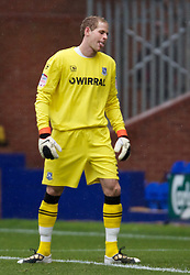 BIRKENHEAD, ENGLAND - Saturday, September 18, 2010: Tranmere Rovers' on loan goalkeeper Peter Gulacsi looks dejected after his mistake gifted Charlton Athletic the opening goal during the Football League One match at Prenton Park. (Photo by Vergard Grott/Propaganda)