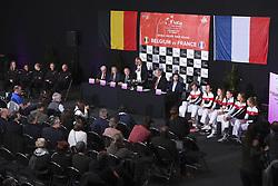 February 8, 2019 - Liege, France - Johan VAN HERCK captain of Belgium, Elise MERTENS, Alison VAN UYTVANCK, Kirsten FLIPKENS, Ysaline BONAVENTURE, Julien BENNETEAU captain of France, Caroline GARCIA, Alize CORNET, Pauline PARMENTIER, Kristina MLADENOVIC, Fiona FERRO (Credit Image: © Panoramic via ZUMA Press)
