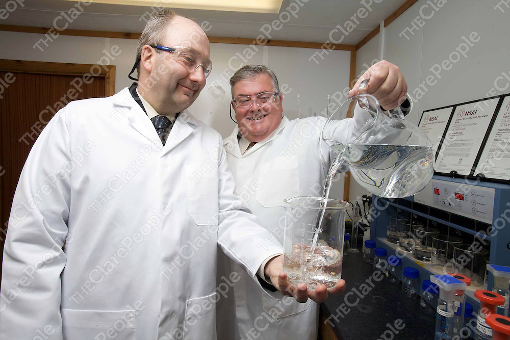 BUSINESS NEWS ....  Chemifloc – www.chemifloc.com - the largest producer of water treatment chemicals in Ireland, has become the first chemical manufacturer on the island of Ireland to achieve the Irish Standard Mark in relation to three chemicals it supplies to local authorities for purifying drinking water. Mr. Maurice Buckley, CEO of the National Standards Authority of Ireland (NSAI) (left) presented the certificates at Chemifloc's headquarters in Shannon to Mr. Ed Storey, M.D., Chemifloc (right). - Photo: Kieran Clancy / Picsure