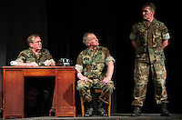 """Rick Kinciad (Colonel Nathan R. Jessep), Peter Ayers (Lieutenant Colonel Matthew Andrew Markinson) and Rodney Martell (Lieutenant Jonathan James Kendrick) during Laconia Streetcar Company's dress rehearsal for """"A Few Good Men"""" Thursday evening at Laconia High School.  (Karen Bobotas/for the Laconia Daily Sun)"""