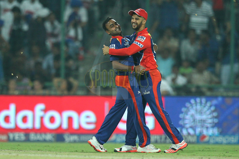 Jean-Paul Duminy , Amit Mishra of the Delhi Daredevils celebrates the wicket of Rohit Sharma captain of the Mumbai Indians during match 21 of the Pepsi IPL 2015 (Indian Premier League) between The Delhi Daredevils and The Mumbai Indians held at the Ferozeshah Kotla stadium in Delhi, India on the 23rd April 2015.<br /> <br /> Photo by:  Deepak Malik / SPORTZPICS / IPL