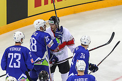 Ales Kranjc of Slovenia and Balazs Sebok of Hungary  during Ice Hockey match between National Teams of Hungary and Slovenia in Round #3 of 2018 IIHF Ice Hockey World Championship Division I Group A, on April 25, 2018 in Arena Laszla Pappa, Budapest, Hungary. Photo by David Balogh / Sportida