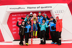 January 7, 2018 - Kranjska Gora, Gorenjska, Slovenia - Mikaela Shiffrin of United States of America and her team on podium celebrating her victory of Golden Fox Trophy at the Slalom race at the 54th Golden Fox FIS World Cup in Kranjska Gora, Slovenia on January 7, 2018. (Credit Image: © Rok Rakun/Pacific Press via ZUMA Wire)