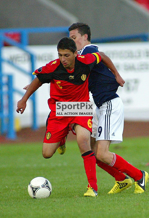 Jack Harper  scotland is beaten to the ball by alessio alessandro belgium  under 17 international picture kevin mcglynn/stockpix.eu