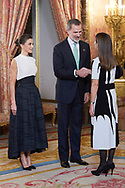 King Felipe VI of Spain, Queen Letizia of Spain, Carolina Schmidt Zaldívar attends United Nations Conference on Climate Change (COP25) reception at Royal Palace on December 2, 2019 in Madrid, Spain